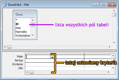 Filtrowanie Zaawansowane - Microsoft Access 2003 kurs online