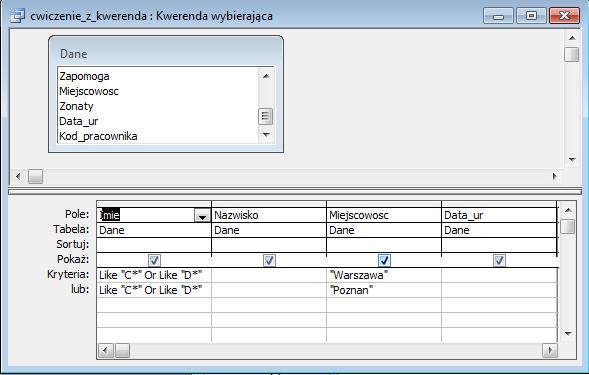 Kwerenda - ćwiczenie - Microsoft Access 2003