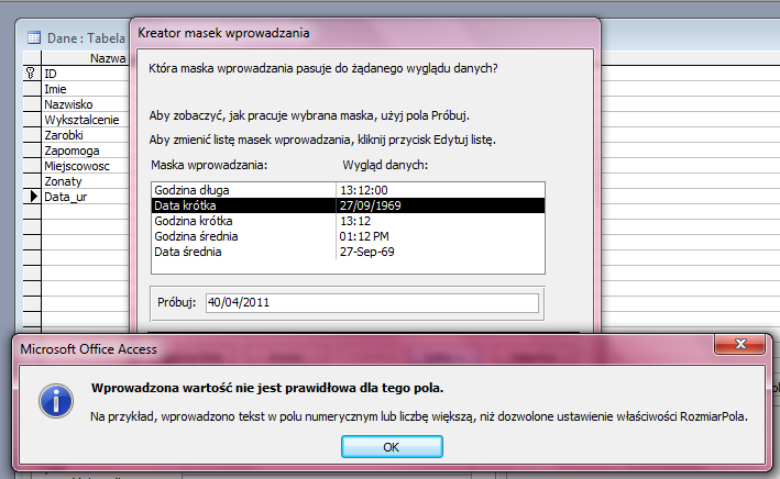 Maska Wprowadzania - Microsoft Access 2003