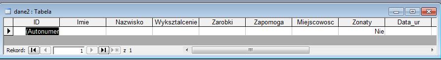 Struktura Tabeli - Microsoft Access 2003 kurs online