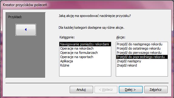 Kreator Przycisków Poleceń - Microsoft Access 2003 kurs