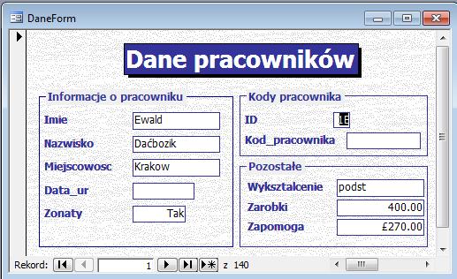 Przykładowy formularz Microsoft Access