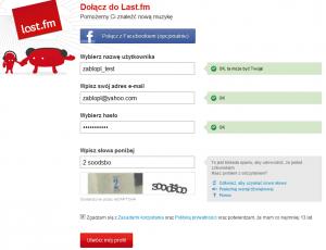 Last.fm - rejestracja w portalu